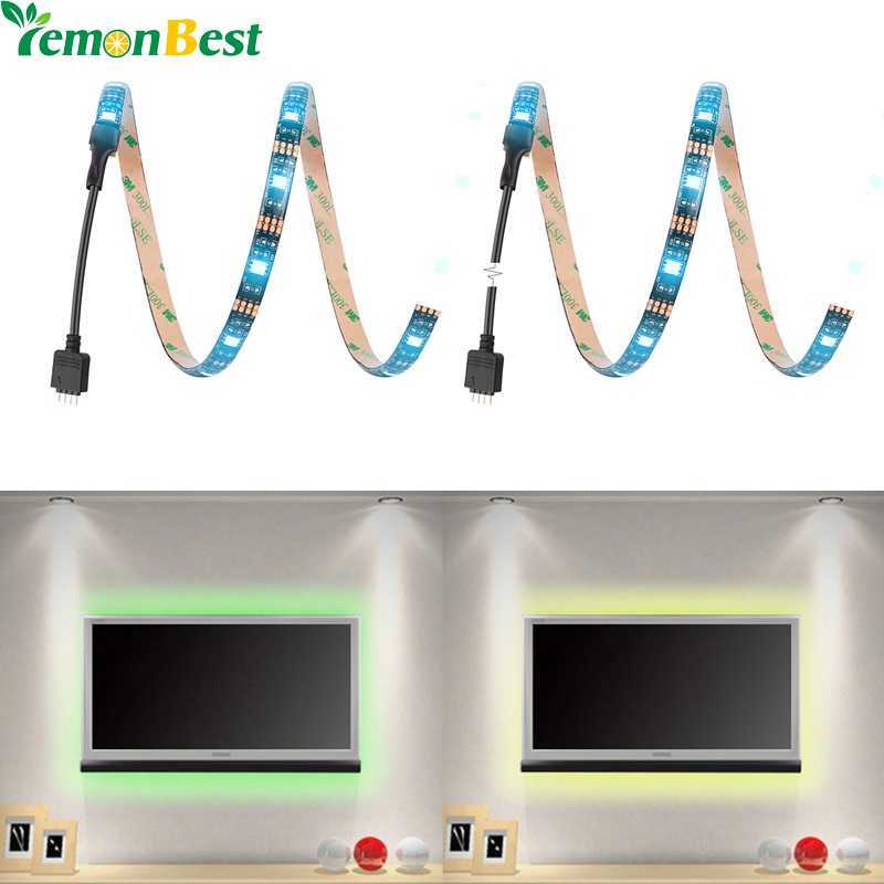 LemonBest 50cm RGB USB 15 LED TV Backlighting Lights Home Theater Accent Lighting Kit Remote