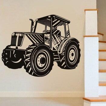 Pegatina de pared para transporte de Tractor o conducción, pegatina de pared calada para coche, vinilo autoadhesivo extraíble para decoración del hogar