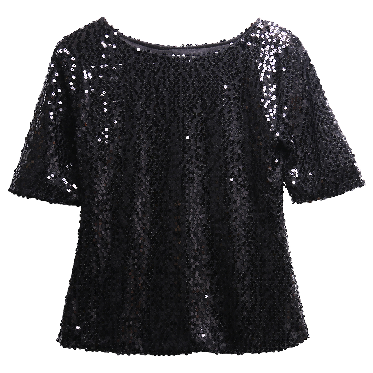 416377a7a8f Fashion Ladies Off shoulder Glistening Sequin Slim Shirt Tops Tee T Shirts  Black Silver Pink-in T-Shirts from Women s Clothing on Aliexpress.com