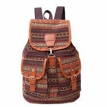 Винтажная парусиновая сумка бохо рюкзак женщины школьный Национальный школьные сумки для девочек-подростков Большой Печать Рюкзак