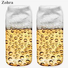 Zohra Hot sales Beer Graphic 3D Graphic Full Printing sock Women's Ladies Meias Low Cut Ankle Socks Cotton Hosiery Socks
