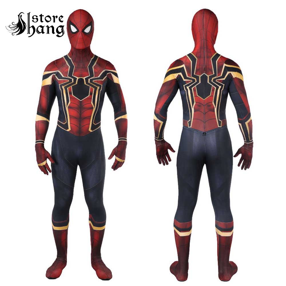 2018 New Spiderman Costume Kids Adult Avenger Infinity War Tom Holland Iron Spider Man Cosplay Costume 3D Print Spandex Zentai