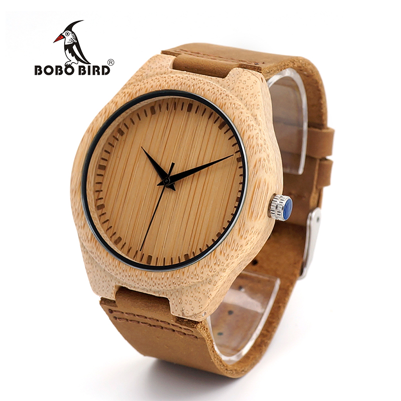 BOBO BIRD V-F18 Watch MenMade from Real Bamboo Wood, No Paint and No Chemical, with Geniune Leather Strap