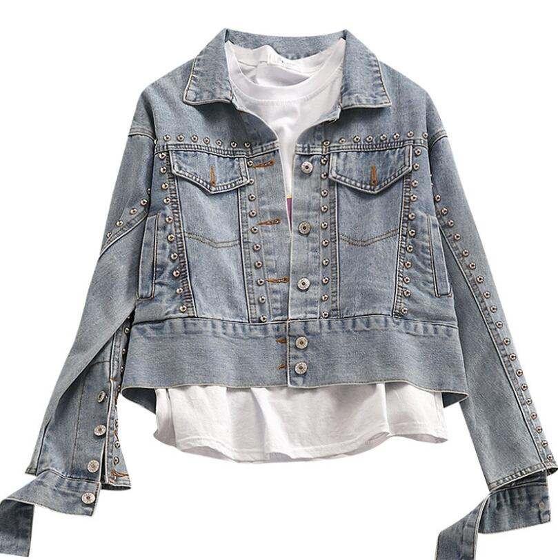 Denim   jacket   2019 new spring fashion rivets beading   basic     jacket   short bf style women jeans coat r665