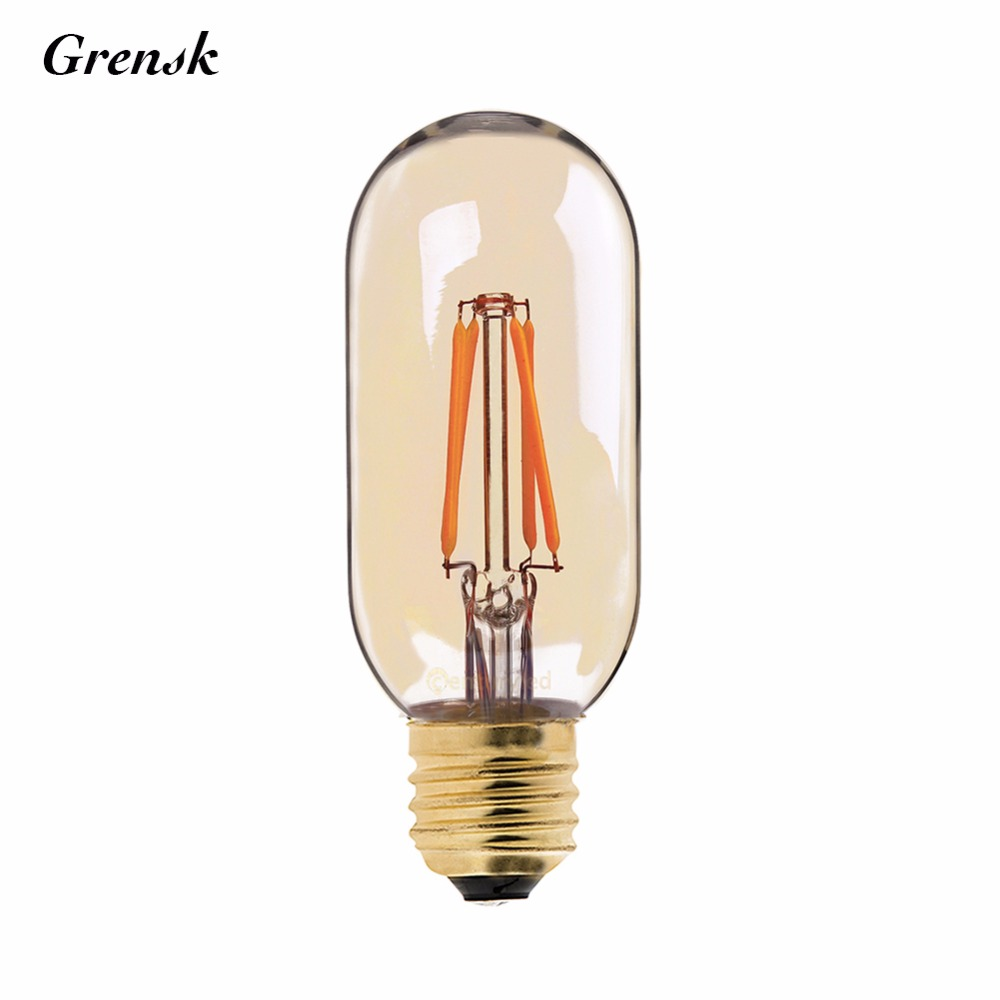 Gold Tint,T45 Globe LED Filament Bulb,Super warm 2200K,Retro Tubular Lamp,E26 E27 Base,110V 220VDC,Dimmable dimmable 1w 2w 3w 4w 6w led vintage filament bulb t20 t25 t30 tubular style warm white 110v 220vac e26 e27