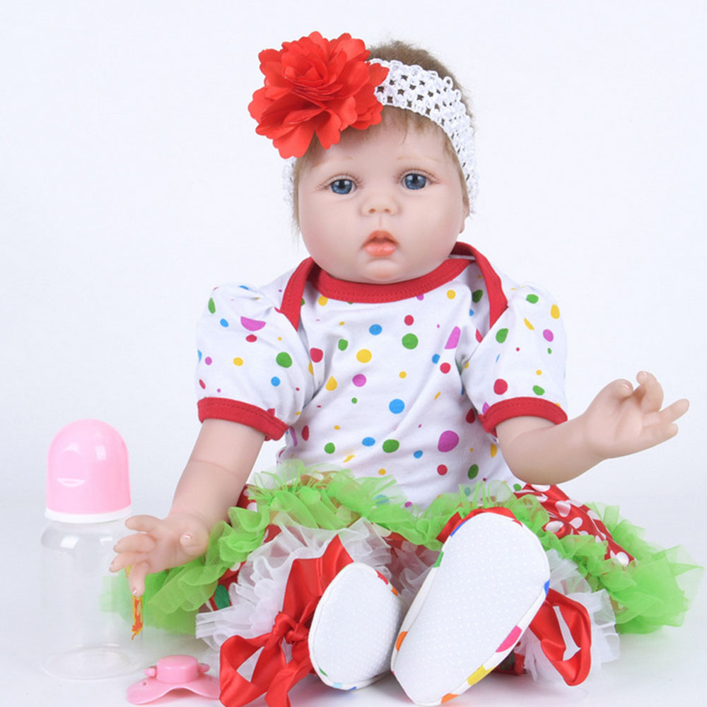 22 inches Cute Realistic Silicone Reborn Baby Doll Newborn Girl Doll with Soft Cloth Body Toy for Birthday New Year Xmas Gift 22 inches realistic reborn girl doll soft silicone cute newborn baby with cloth body toy for kids birthday christmas gift
