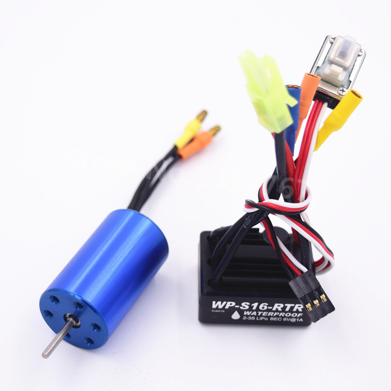 Brushless Modification Kit 25A Waterproof ESC 2-3S 2440 Motor For 1/16 1/18 Scale Models Remote Control Car RC Car WP-S16-RTR 2435 senseless brushless 4800kv motor 25a esc for 1 16 18 rc car