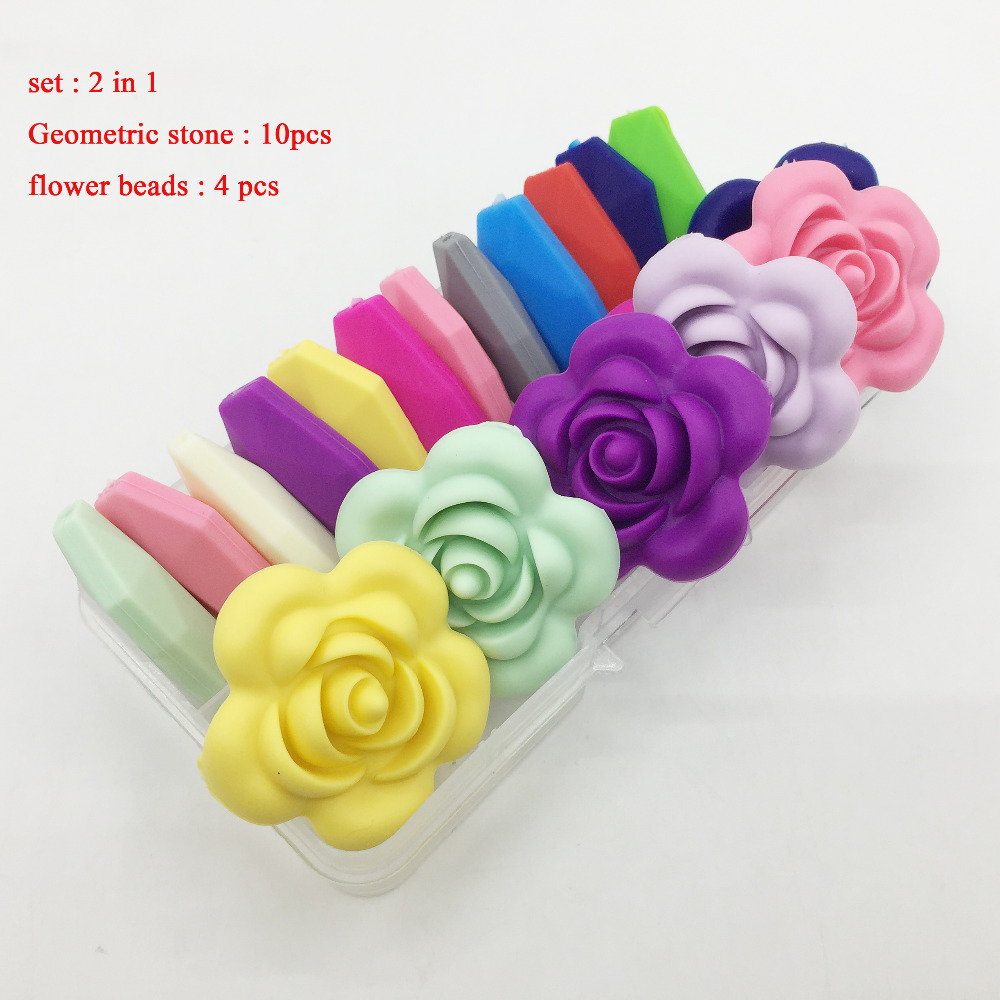 New Design Of Sets Silicone Flower Rose Beads 4pcs Jewelry & Accessories Geometric Stone Beads 10pcs For Baby Toys Beads Bpa Free Good Taste Beads