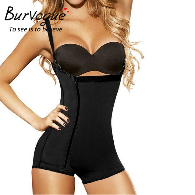 9ce6b08fb2a Burvogue Women Shaper Open Crotch Bodysuit Waist Trainer Control Underbust Underwear  Shaper Butt Lifter Latex Zipper Body Shaper