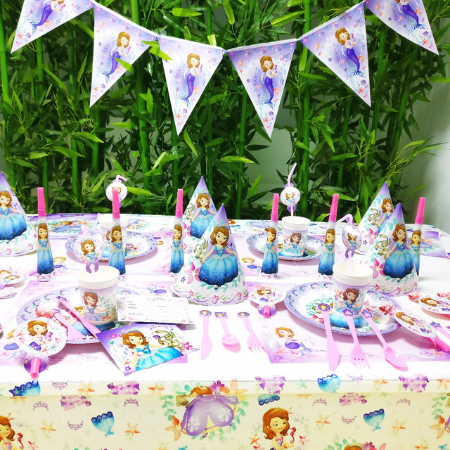DISNEY Sofia Priness Kids Birthday Queen Movie Baby Party Decorations Girl Supplies Decoration Set