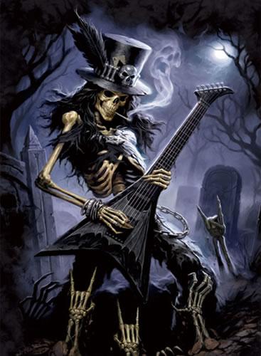 Musik tengkorak gitaris Lenticular 3D gambar Poster lukisan
