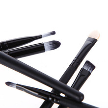 2015 New 6 PCS Black Professional Cosmetics Make Up Brushes Eyeshadow Eyeliner Nose Smudge Tools Set 6FCE
