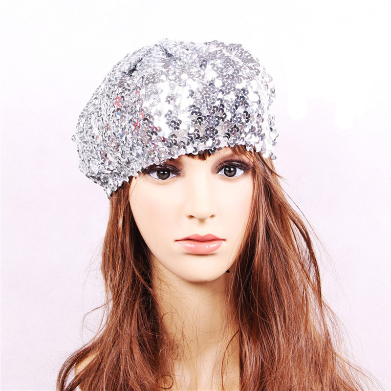 Party Performance/Shows Disco Cap Nightclub Costume Stage Beret Cap Women Girls Sequins Beret Hat for Dance