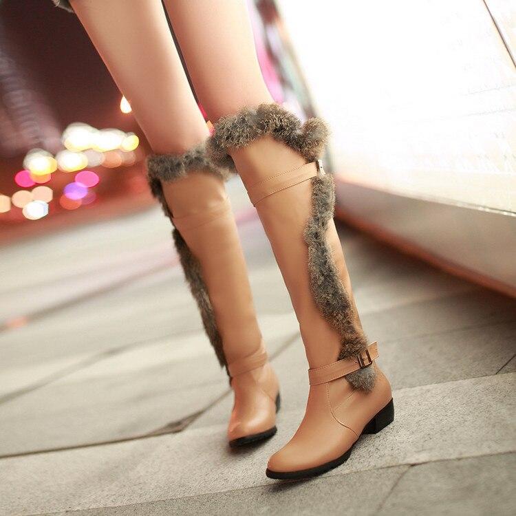 Las Nieve Antideslizante negro De Invierno Mujeres Botas Peluche Cálido Plataforma Beige Zapatos blanco Felpa x6qaYCwvC