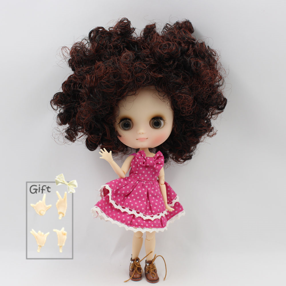 Nude Factory Middle Blyth doll Series No BL910310362 Brown mix Black curly hair Matte face suitable