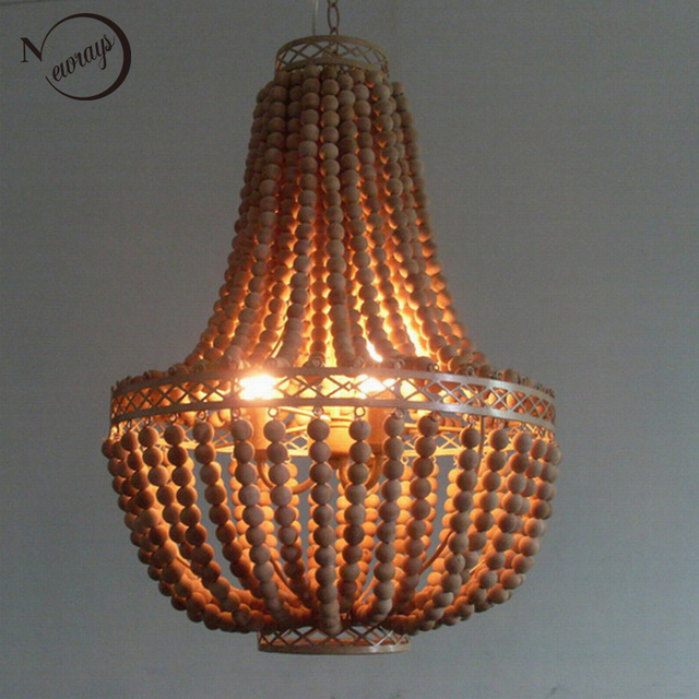 Vintage Rustic Hanging Wooden Beads Pendant Lamp/World Market Large Wood  Lamp/shabby Chic
