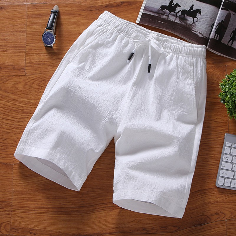 Man's Short Pants Keen Length Casual Linen Trousers 2018 New Fashion M-7XL Large Size Fit Man White Black Pluse Size Outside