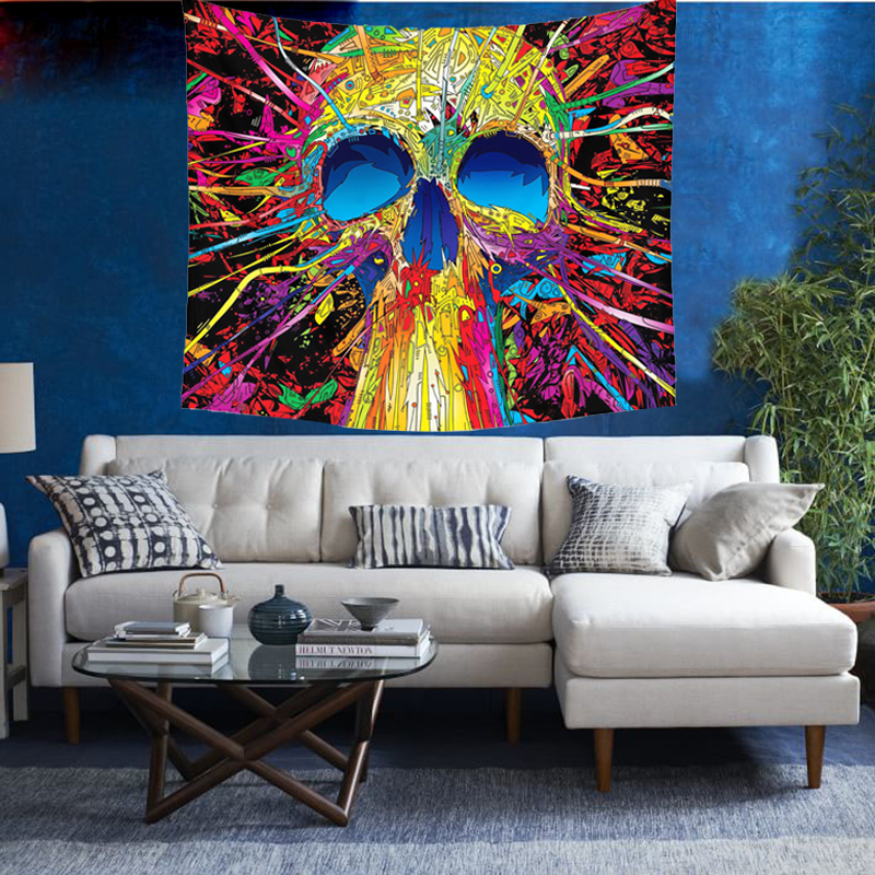 India Mandala Tapestry Wall Hanging Skull Tapestry Beach Bedspreads Skull Blanket <font><b>Towel</b></font> Hippie Tapestry Psychedelic Wall Cloth
