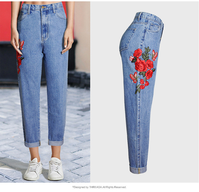 summer skinny jeans brod fleurs boyfriend jeans femmes taille haute plus la taille r tro denim. Black Bedroom Furniture Sets. Home Design Ideas