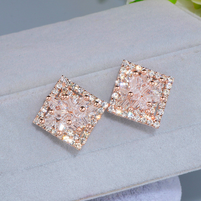 Elegant Hollow Shiny Full Crystal Square Stud Earrings For Women Bijoux Charm Rose Gold Color Flower Brinco Gift Wx089