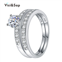 Vissap New Hot White Gold Plated Ring Sets engagement rings for women vintage trendy wedding ring Accessories Wholesale VSR124