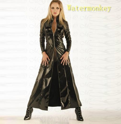 Watermonkey brand Cosplay Halloween Costumes Black Cloak sexy leather piece suit Pvc sexy adult fun dress