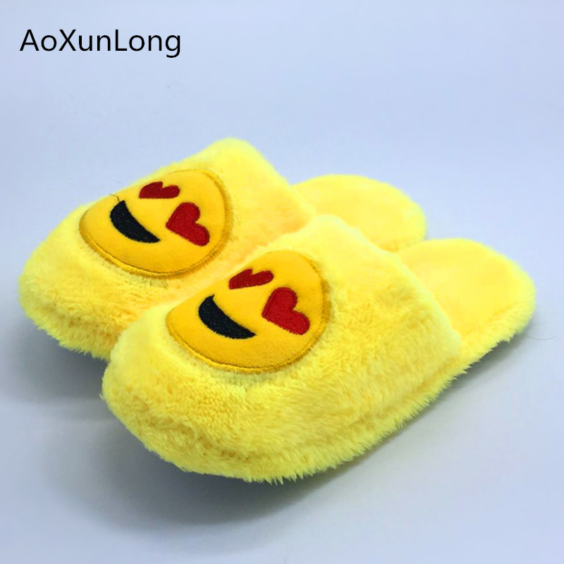 Winter Cartoon Smile&Poo Slippers Women Plush Indoor Warm Home Slippers Yellow Shoes Woman 36-45 Unisex zapatos mujer chinelo 9 men winter soft slippers plush male home shoes indoor man warm slippers shoes