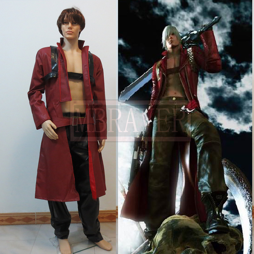 Game Anime Movie Devil May Cry DMC Dante Cosplay Costume Red Coat Full Set Free Shipping