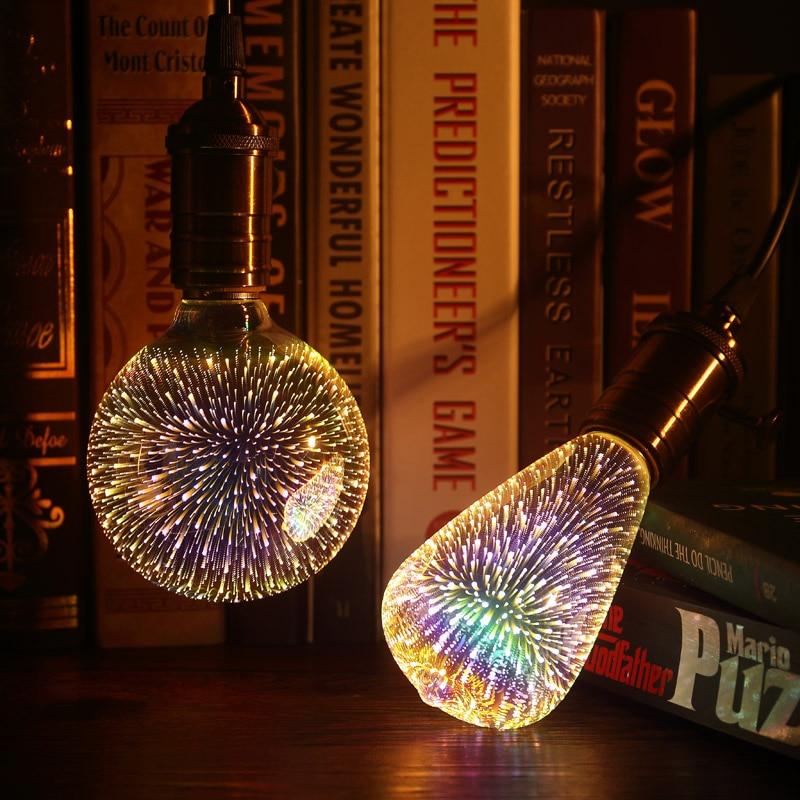 3D Bulb E27 Led RGB Light Christmas Tree Decor Holiday Lamp Holder Bottle Heart Skull A60 ST64 G80 G95 G125 110V 220V Lamp Base 3d fireworks led bulb light 220v e27 a60 st64 g80 g95 g125 novelty decoration lamp christmas lighting
