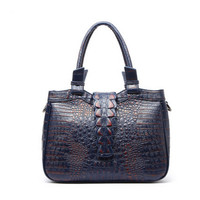 100 Italy Genuine Soft Leather Material Hand Bag Bagcrocodile Pattern Pattern Shoulder Bag Retro Lady Luxury