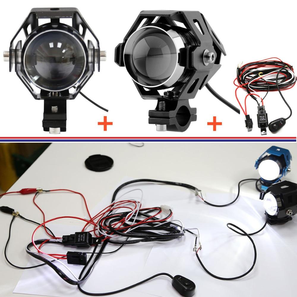 Motorcycle Wiring Harness Driving Lights 40 Diagram Images Kits Set 2pcs Black U5 Led Transformer Headlight Light 1pcs Aliexpress Com Buy