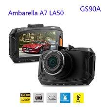 Видеорегистратор GS90A Ambarella A7 LA50. 5 мегапикселей, разрешение 2560*1080, 30 кадров в сек, 2.7дюймов экран, угол обзора 170 градусов, H.264 GPS + G-sensor