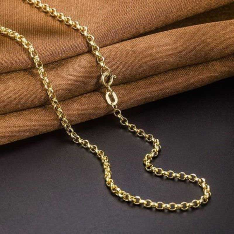 FINE Pure 18K Yellow Gold Necklace Women Rolo Cable Link Chain Au750 24inch