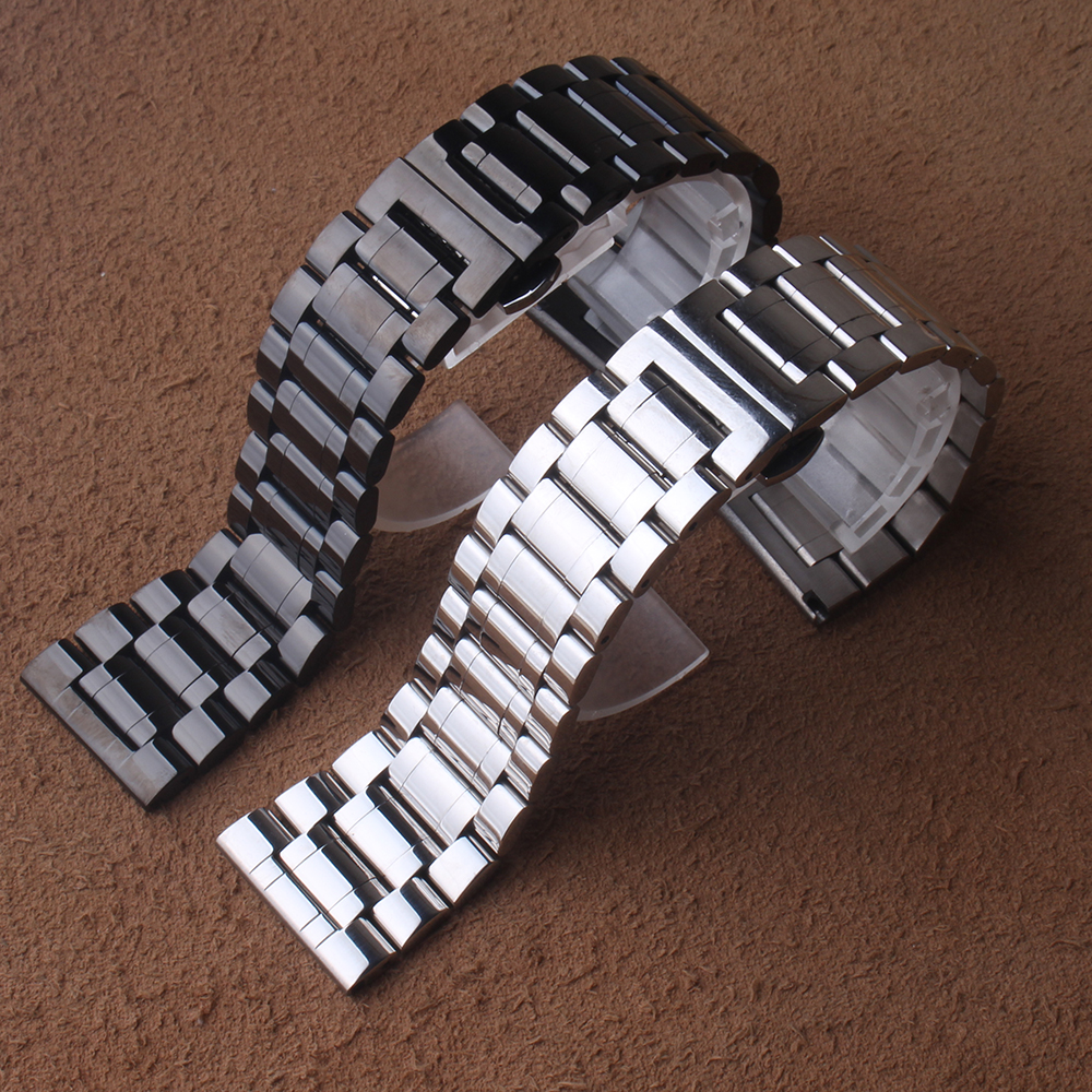 High Quality Watch band 24mm 26mm 28mm 30mm Black Metal Stainless Steel Watchband BANDS Strap Bracelets Double Push Clasp Buckle