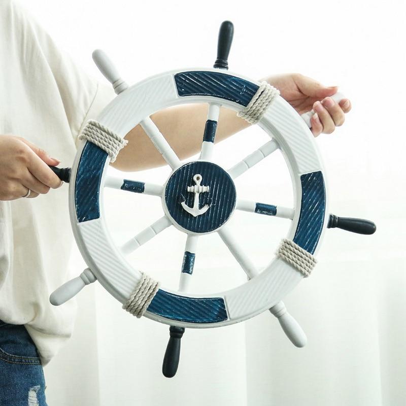 45cm Wall Hanging Wood Boat Rudder Nautical Marine figurines for home decoration Mediterranean Sea Crafts steering wheel