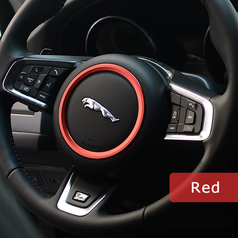 DSYCAR Zinc alloy Steering wheel decoration ring sticker logo Car styling Modification for Jaguar XF XE F-PACE F-TYPE Stickers 2016 100% carbon fiber car auto remote keyless entry key case cover fob holder shell for jaguar xe xf xj xjl xk f type f pace