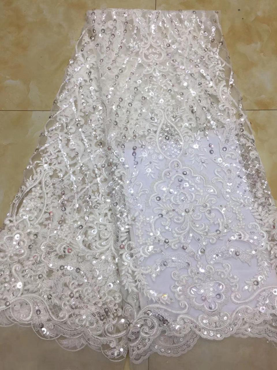 2018 Nigerian net material white French lace fabric, bride wedding African sequins lace fabric high quality AD740