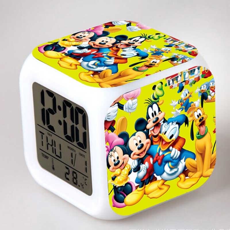 Mickey Minnie Mouse Action Figure Alarm Clock LED Colorful Touch Night Light PVC Collection Model Party Toy simba пупс minnie mouse