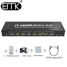 EMK 6×2 HDMI TV Matrix 6 input 2 output HDMI Switch Splitter 1.3b 1.4v support 3840×2160 30Hz 3D ARC Audio with Remote Control