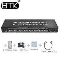 EMK 6x2 HDMI TV Matrix 6 input 2 output HDMI Switch Splitter 1.3b 1.4V support 3840x2160 30Hz 3D 4K x2K Audio ARC Remote Control