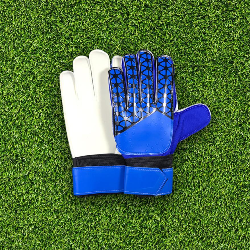 MUQGEW Outdoor Sports Goalkeeper Goalie Keeper Gloves Roll Finger Soccer Protective Safety Goalie Gloves Football Gift Glove