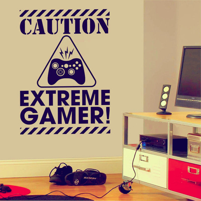 Caution Extreme Gamer Wall Art Stickers Decals Vinyl Home Decor Room ...