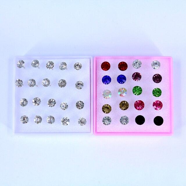 Gratis Verzending Goedkope 7mm Shining AA Steentjes Plastic Stok Oorbellen Resin Crystal Oorstekers 10 paren/doos, 5 dozen/lot