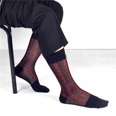 2017 Hot!men silk socks Good qulity New style Gay sexy Sheer Socks men Formal Suit stripe gentleman socks dress
