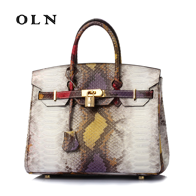 OLN New Designer Handbags High Quality Brand Women Genuine Leather Serpentine Handbag Tote Shoulder Bags Messenger Ladies Bag elegant serpentine pattern handbag shengdilu brand 2018 new women genuine leather tote shoulder messenger bag free shipping