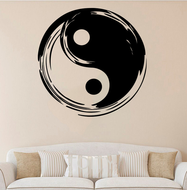 Yin Yang Wall Sticker Symbol Vinyl Decal Chinese Taiji Art Decor Home Interior Room Office Studio Club Salon Design Mural