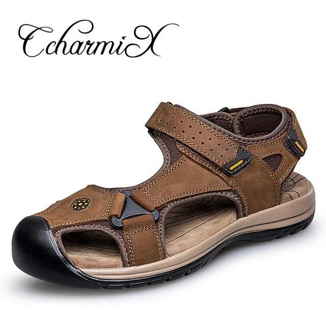 CcharmiX Mens Gladiator Sandal Male Sandals Genuine Leather Flat Shoe Black  Brown Men Footwear Outdoor Summer Dress Man Sandles 305a6d3e0296