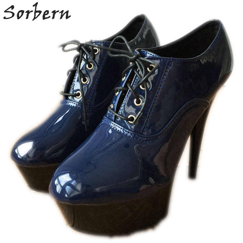 43ccdb861e52d Sorbern Royal Blue Metallic Ankle Boots For Women Ballet High Heels ...