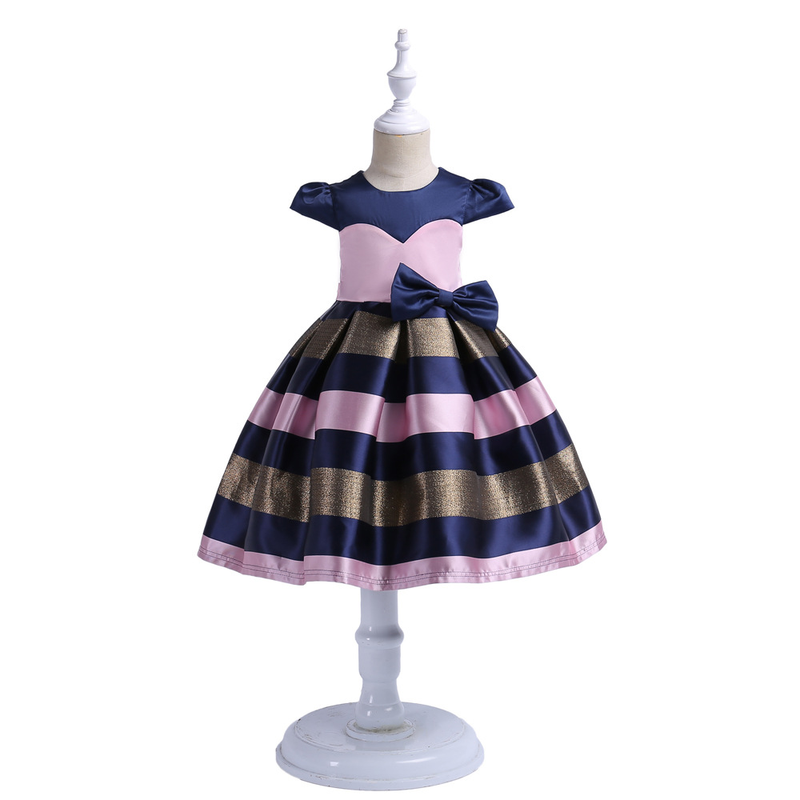New Striped Girls Dress Party Prom Gowns Wedding Birthday Outfits Vestidos Infantil Princess Dress Up Costume Girls Clothing