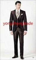 2015 роскошный коричневый Свадебный костюм из трех частей в шелковой Shantung ткани, индивидуальный костюм жениха MS0386